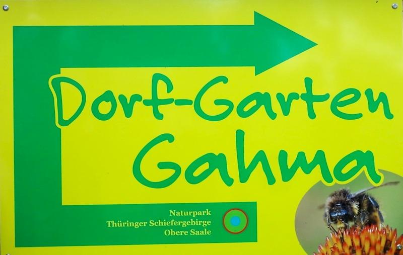 Schild Dorf-Garten Gahma